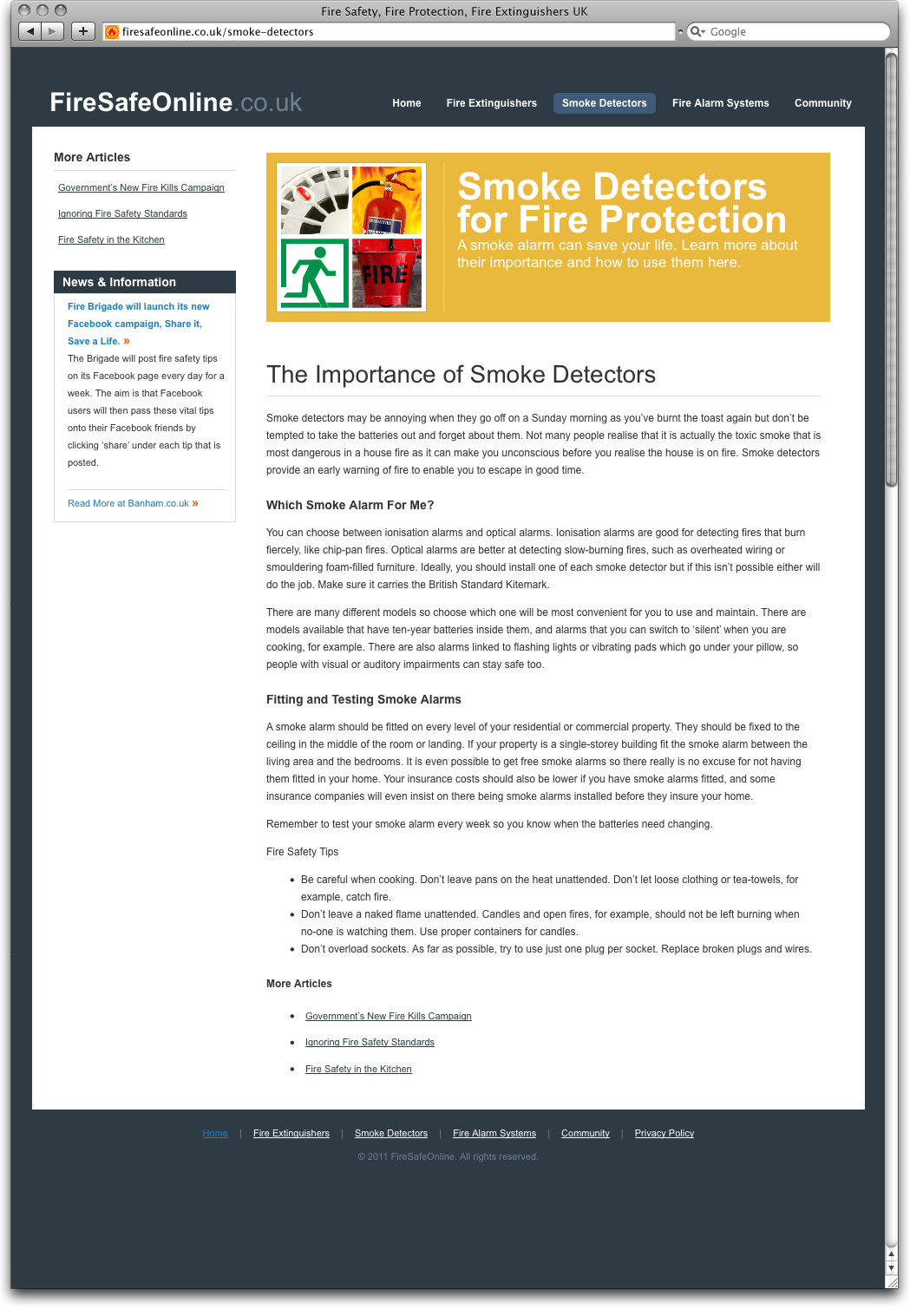 Fire Safe Online Article Page