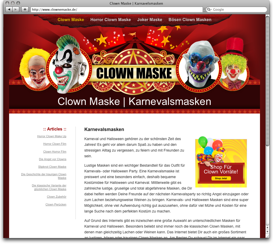 Clown Mask Website