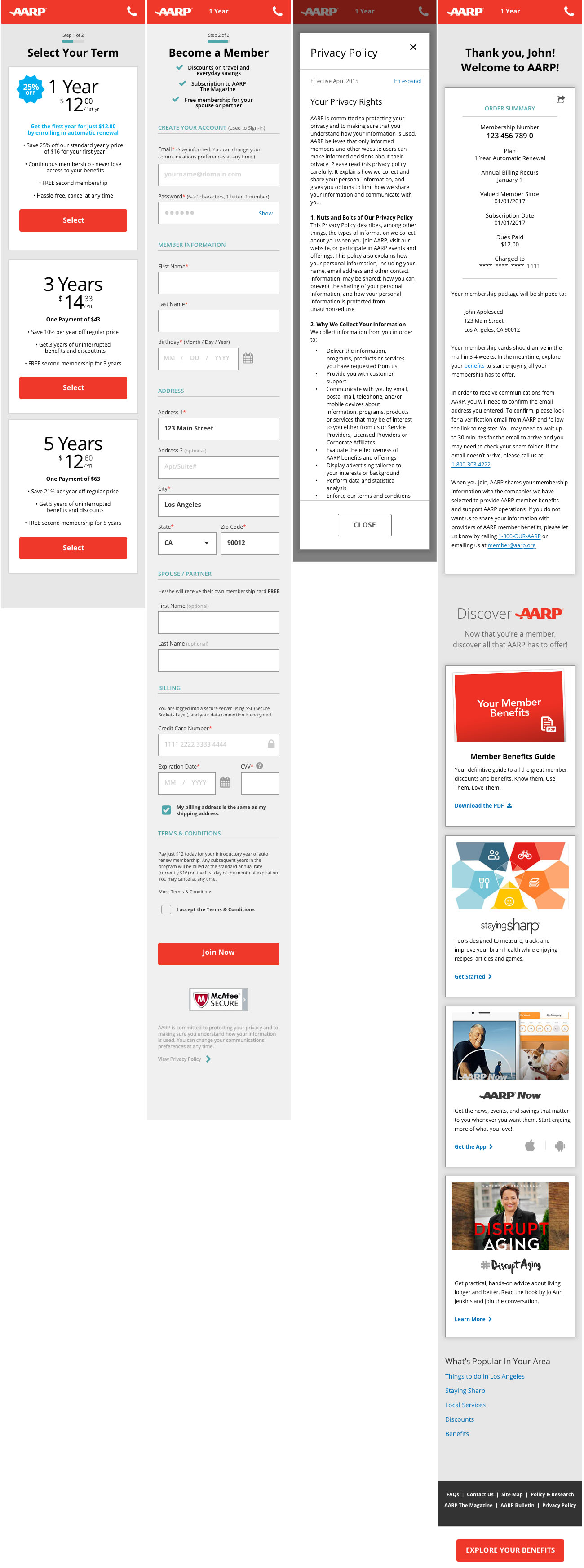 AARP Join Cart Mobile