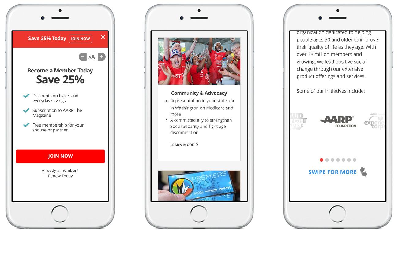 AARP 'Clean' Landing Page Mobile refresh
